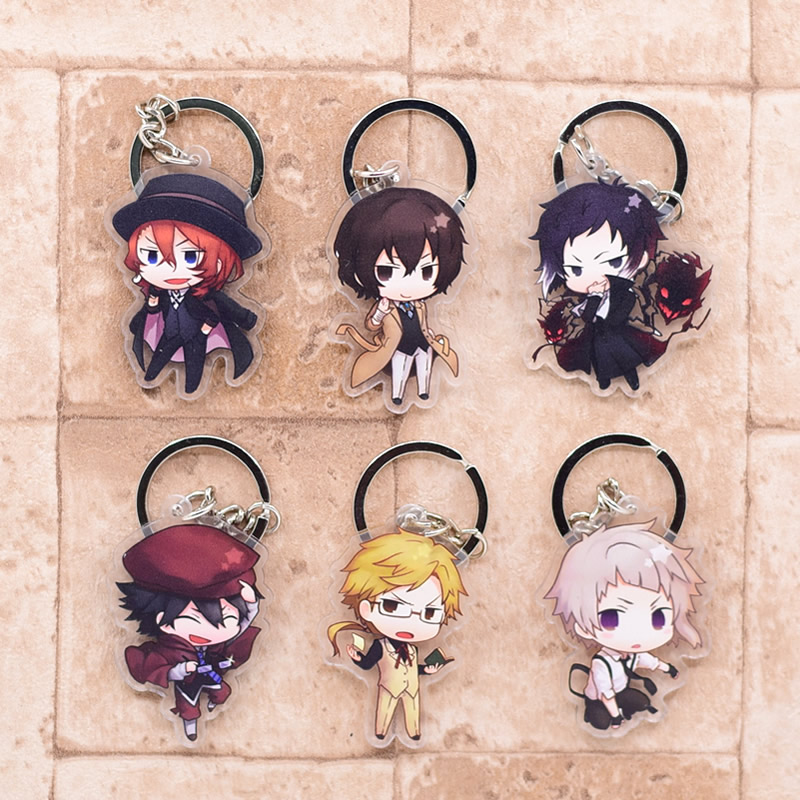 2019 Bungo Stray Dogs Keychain Double Sided Key Chain Acrylic Pendant Anime Accessories Cartoon Key Ring(China)