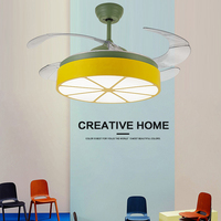 Fashion Ceiling Fan Light Nordic Modern Dinning Room Bedroom Restaurant Solid pendant fan with lamps with remote control