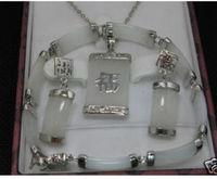 Prett Belle Femmes De Mariage de Vente Chaude! bijoux blanc gem collier bracelet boucle d'oreille ensemble n06