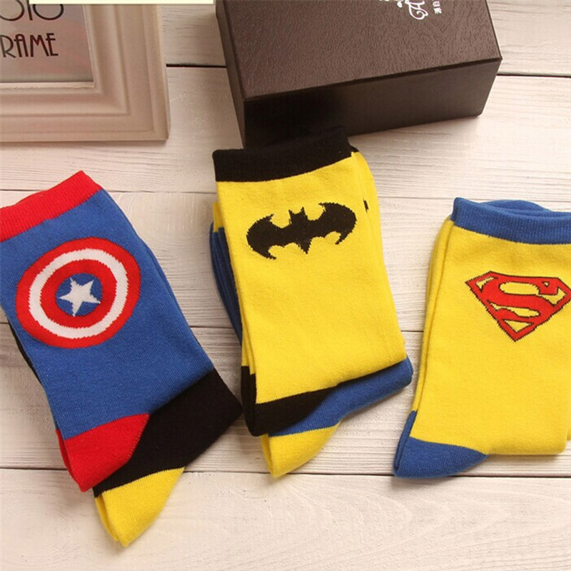 2019 New Fashion Personality Tide Male Batman Socks Wonder Woman Tube Socks Spider-Man Men Superman Socks S-8