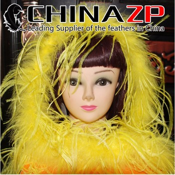 CHINAZP Wholesale 10yards/lot 35gram/piece Best Quality Dyed Yellow Ostrich Feather Boas Scarfs