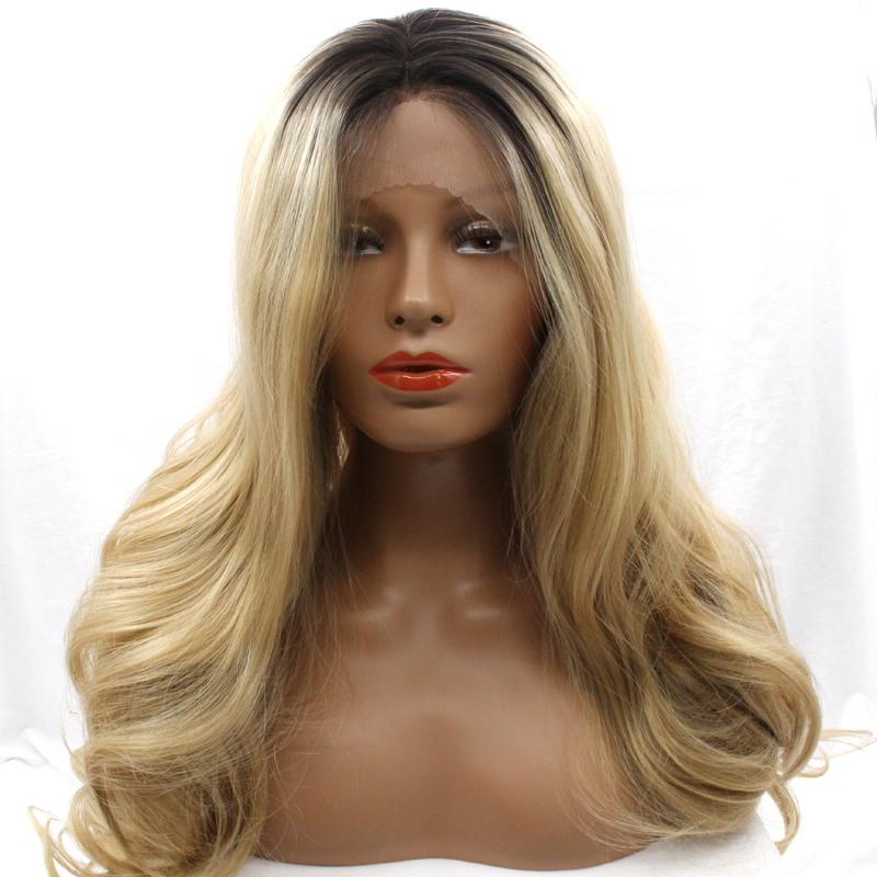 ФОТО DLME blonde long body wave synthetic lace front wigs with black roots glueless wavy heat resistant hair