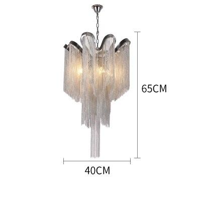 Нордическая кисточка, цепочка, подвеска светильник для дома luces led decoracion серебристый подвесной светильник с бахромой - Цвет корпуса: Dia400xH650mm