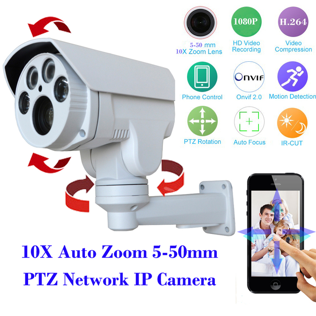 "1/2.8"" SONY CMOS IMX322+Hi3516 CCTV Security PTZ IP Camera HD 1080P 2MP 10X Motorized Auto Zoom 5-50mm Varifocal Lens IR 60M"