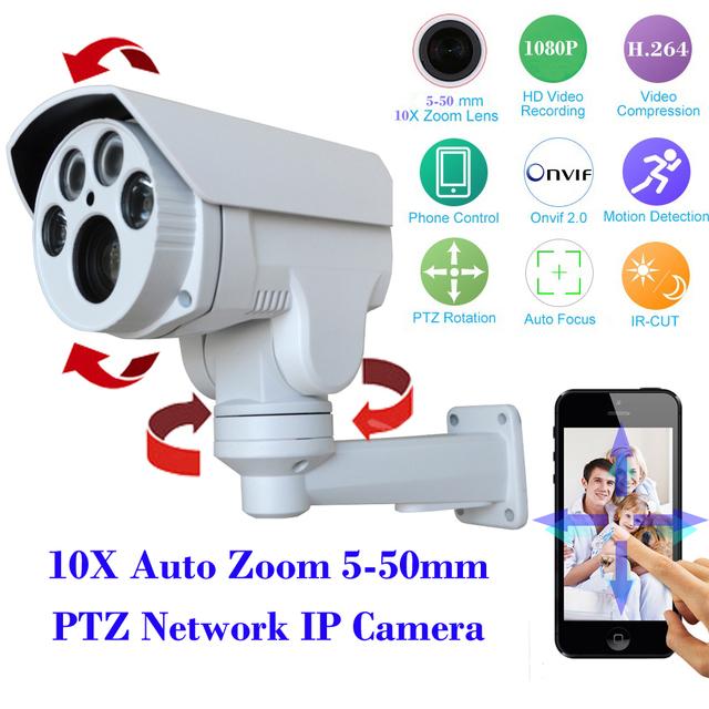 "1/2. 8 ""imx322 + hi3516 sony cmos de segurança cctv câmera ptz ip hd 1080 p 2mp 10x auto motorizado zoom 5-50mm lente varifocal ir 60 m"