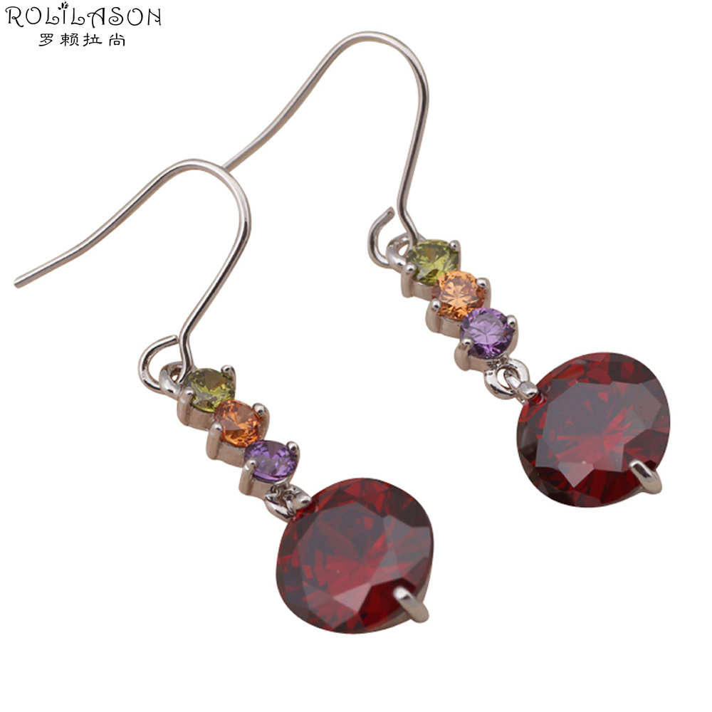 Round Design Wholesale Garnet White Gold Plated Red Crystal Fashion Jewelry  Drop Earrings For Women Je466