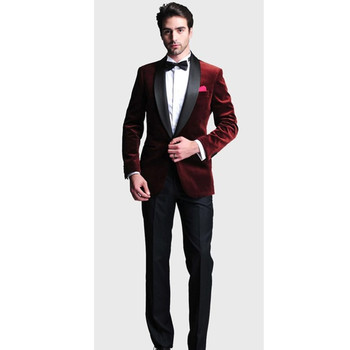 New Arrival Customized Wedding Tuxedo Velvet 2017 (Jacket+Pants) 2 Pieces Regular Groom Best Man Men Suits For Prom Party Casual