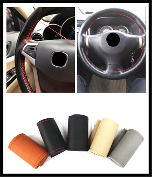 New car interior hand sewing steering wheel cover protection for BMW E34 F10 F20 E92 E38 E91 E53 E70 X5 M M3 image