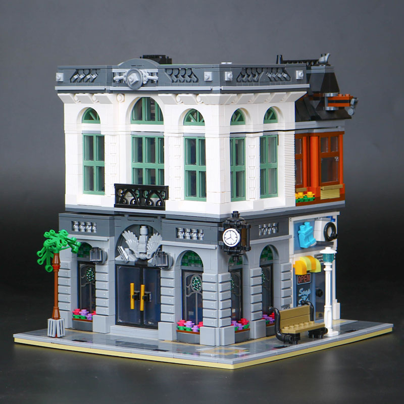 Compatible legoed LEPIN 15001 City Street Bank Model Building Kits Blocks Bricks Kits education Toys for Children gifts 10251 lepin city town city square building blocks sets bricks kids model kids toys for children marvel compatible legoe