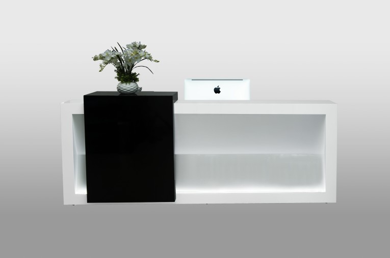 wholesale black wood melamine office solid surface reception front desk design price with lightqt2490