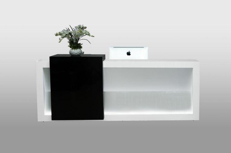 wholesale black wood melamine office solid surface reception front desk design price with lightqt2490 - Reception Desk Designs