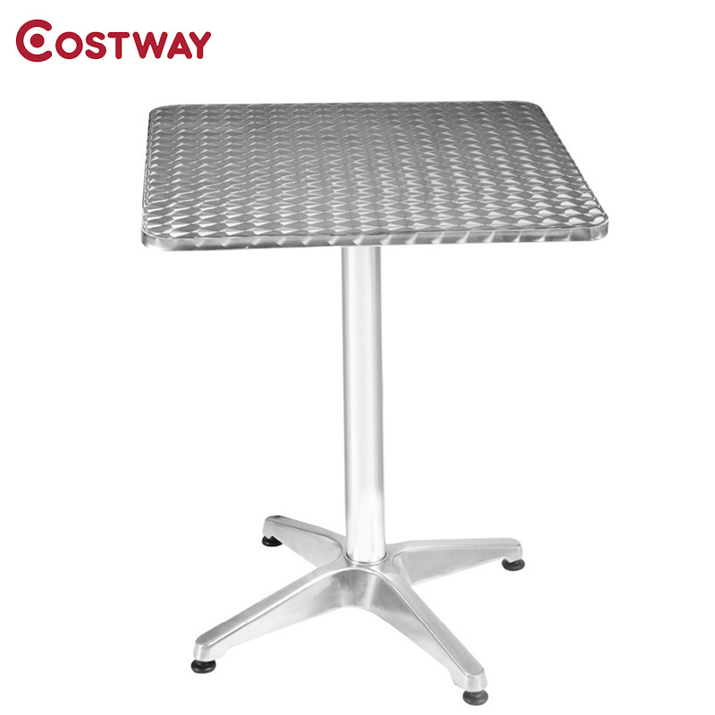 COSTWAY Modern Silver Aluminum Stainless Steel Square Bar Table Pub Restaurant Commercial Furniture OP2797 stainless steel cuticle removal shovel tool silver