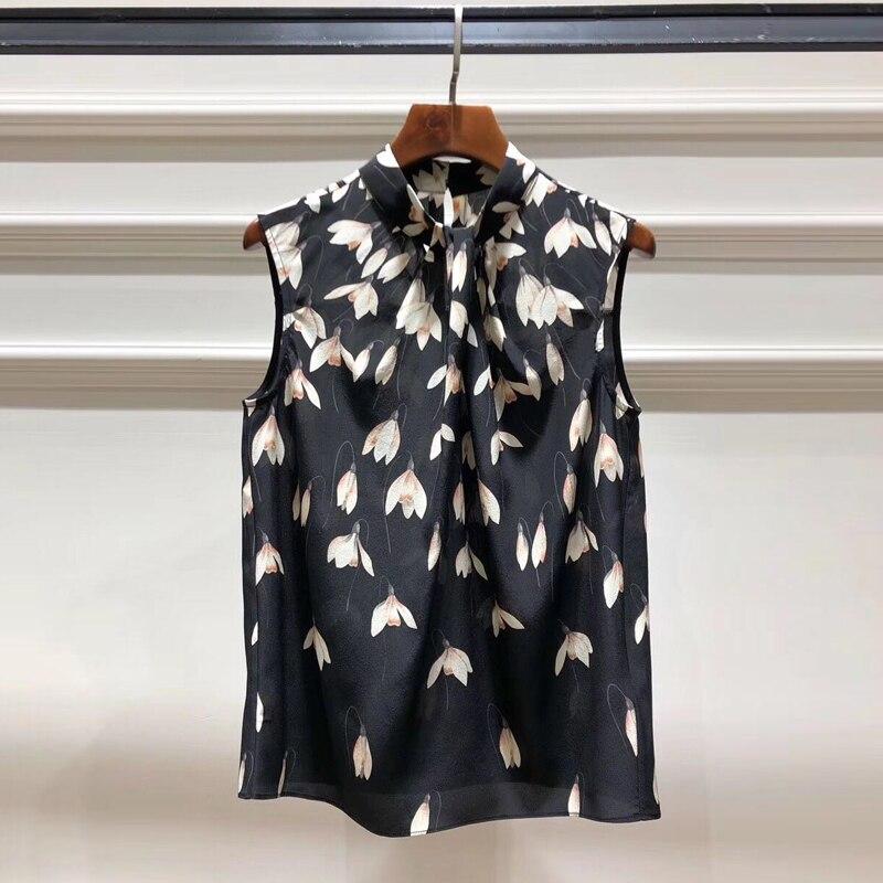Kadın Giyim'ten Bluzlar ve Gömlekler'de Kırmızı RoosaRosee Pist Tasarımcı Kadın Yaz 100% Ipek Gömlek Çiçek Baskı Ince Kolsuz Siyah Bluz High end Kadın Giysileri'da  Grup 1