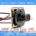 1,3-МЕГАПИКСЕЛЬНАЯ 1280*960 AHD 1200TVL 960 P мини ночного видения 1/3 HDI8901 + T151 Модуль Камеры 2.8 мм широкий-угол 120 градусов Камеры Наблюдения