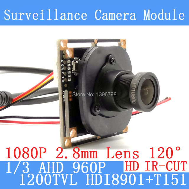 1.3MP 1280*960 1200TVL AHD 960P mini night vision 1/3 HDI8901+T151 Camera Module 2.8mm wide-angle 120 degree Surveillance Camera