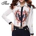 Boa qualidade patchwork senhora moda camisas tamanho s-2xl praça collar mulheres de slim blusa impressão design outono primavera ponta clothing