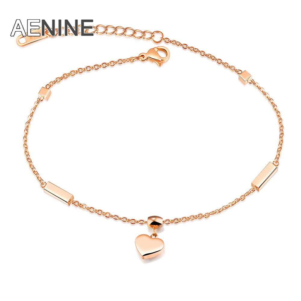 Jewelry & Accessories Aenine New Heart & Cube Charm Anklets For Women Rose Gold Color Stainless Steel Female Foot Bracelet Friendship Jewelry Ogz028