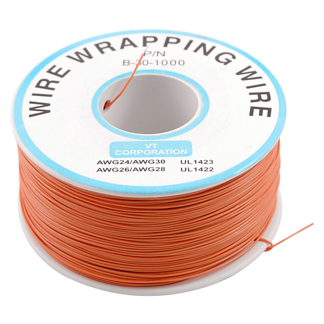 Orange 0.5mm 30AWG Wire Wrapping Wrap Flexible insulation tin-plated Jumper Cable 1000Ft PCB Solder electronic test motherboard 6m 20ft long 12mm wire spiral wrap wrapping sleeving band cable black white x 2
