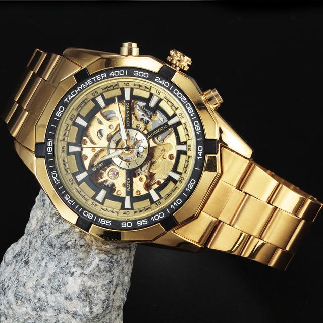 Reloj mecánico automático esquelético de oro para hombre