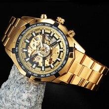 Ganador Del Reloj de Los Hombres Reloj Mecánico Automático Esquelético de oro esqueleto de la vendimia watchskeleton hombre Mens relojes de Primeras Marcas de Lujo