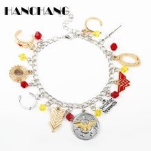 Wonder Woman around Charms Pendants Bracelets for Women Bangles&Bracelets Crystal a Bracelet Female Girls Gift(China)