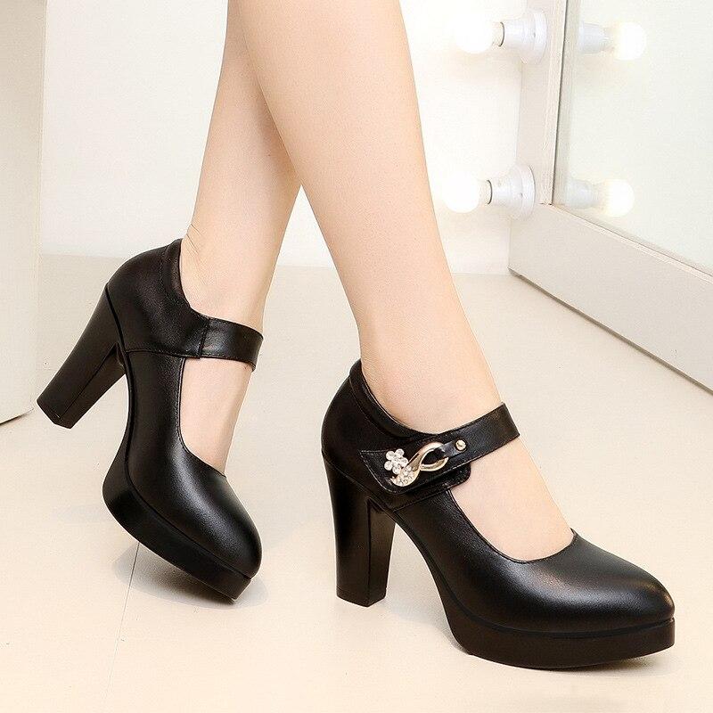 Femmes noir bout rond talons hauts pompes plate-forme talons mode femmes chaussures chaussures confortables