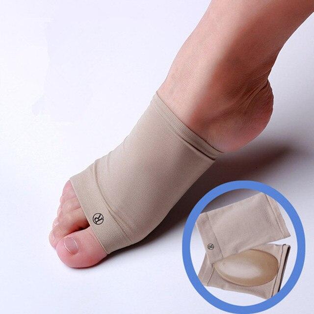 ed45c1e69 Tecido bandagem Silicone Arch Suporte Shoes Pad Flexível Conjunto Pés  Flatfoot Palmilhas Ortopédicas Fasceíte plantar Massagem
