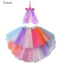 Rainbow Unicorn Tutu Skirts with Hair Hoop Princess Flower Girls Party Dress Children Kids Christmas Costume 2018 New
