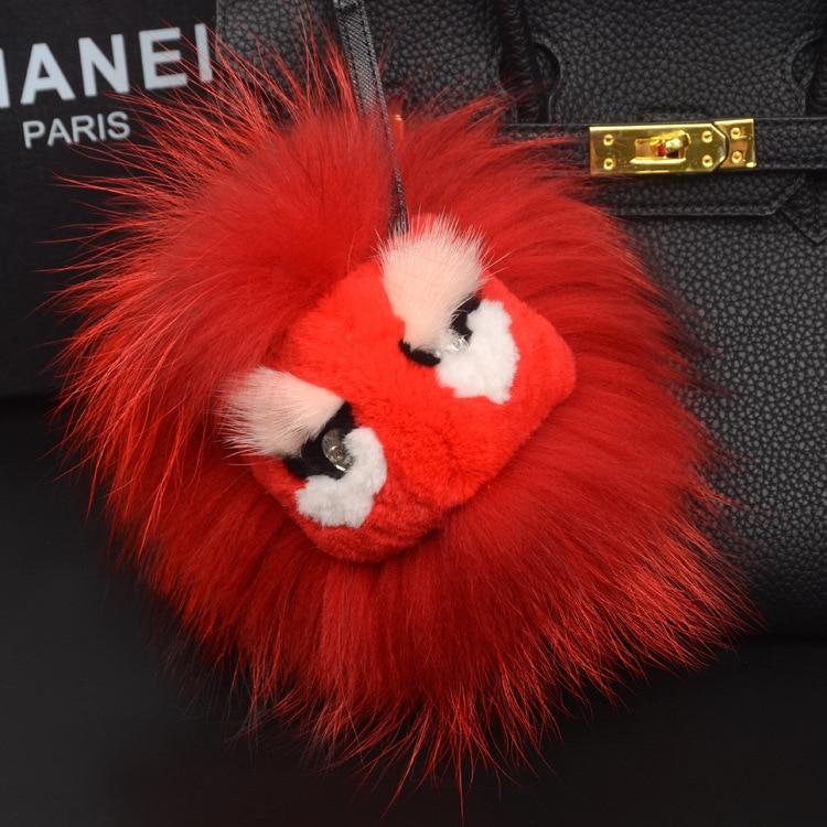 цена на Luxury Genuine Fox Fur Monster Face Keychain Fluffy Fur Pom Pom Pompons Keyring Women Car Bag Handbag Charms Pendant Key Holder