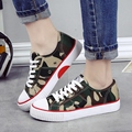 Camouflage Designer Lacing Canvas Shoes For Woman 2017 Spring New Female Casual Shoes Flats Students Graffiti Shoes