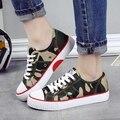 Camuflaje Diseñador Cordón Zapatos de Lona Para Mujer 2017 Nueva Primavera Mujer Casual Shoes Pisos Estudiantes Zapatos de Graffiti