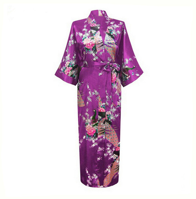 New Purple Sexy Women Silk Rayon Nightgown Bridesmaids Wedding Robes Sleepwear Kimono Bath Dressing Gown S M L XL XXL XXXL NR071