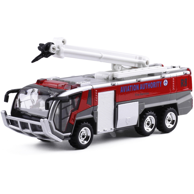 Airport fire truck Firefighting Kids Toy pull back light sound car model 1/32 AVIATION AUTHORITY boy gift Recovery vehicles