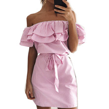 off shoulder neckline strapless striped woman dresses spring and summer ruffle sweet pink female mini slash neck dresses lady