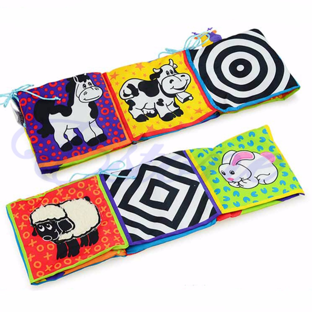 Infant Kid Baby Development High-Contrast Puzzle Zoo Cloth Book