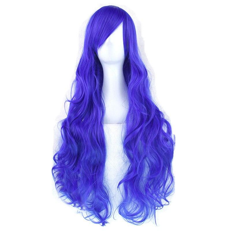 Gres Natürliche Welle Cosplay Perücken Hohe Temperatur Faser Synthetische Haar Schwarz/Blau/Rosa 80 cm Lange Cos Haarteile
