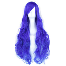 Soloowigs Natural Wave Cosplay Wigs High Temperature Fiber Synthetic Hair Black/Blue/Pink 80cm Long Cos Hairpieces