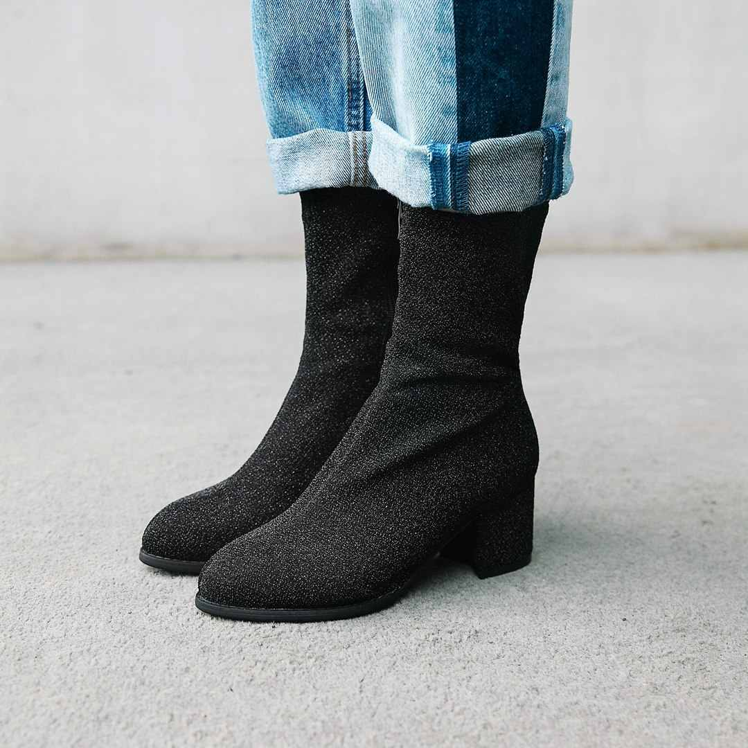 NEMAONE Yeni parlak kare med topuklu ayakkabılar kadın yarım çizmeler bayanlar sonbahar kış çizmeler parti elbise ayakkabı kadın büyük boy 42 43