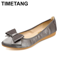 TIMETANG Sweet Bowknot Silk Ladies Shoes Women Foldable Ballet Flats Pointed Toe Spring Shoes Woman New Loafers Big Size 34 42