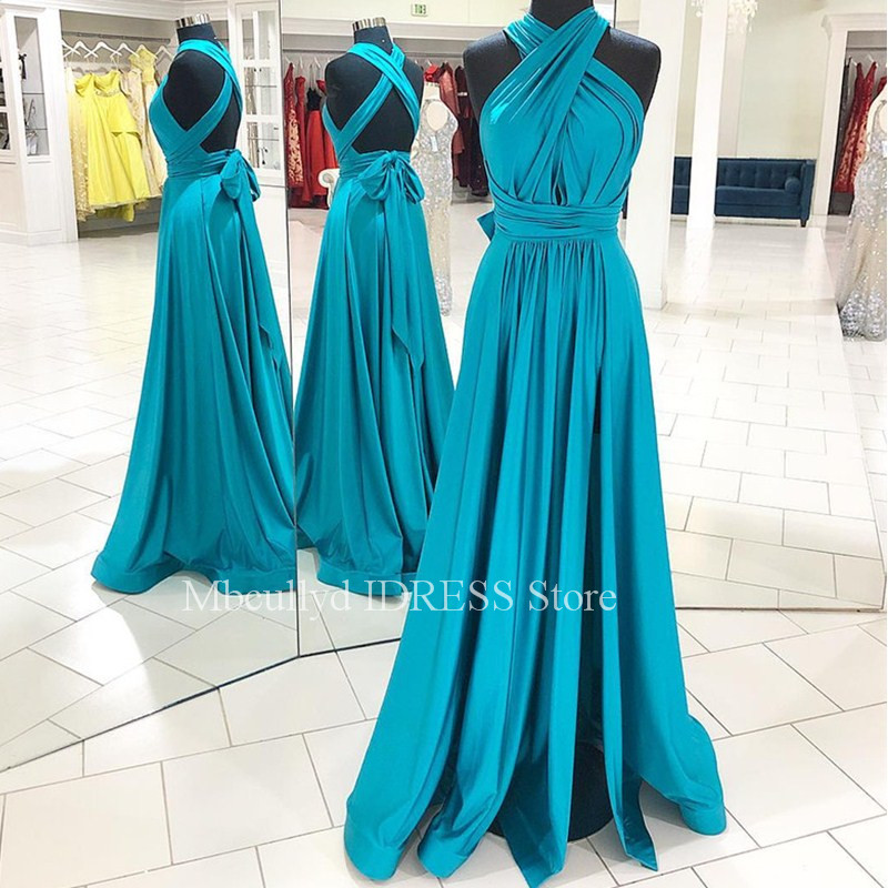 A-line   Prom     Dresses   2019 Sexy V Neck Ruffled   Dress   For Party Women Cross Back Cheap Evening Special Occasion Gowns Faster Ship