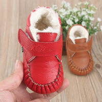 Baby Cowhide Leather First Walker Kids Lacing Prewalker Infant Warm Thinner Cotton Inside Winter Leather Bottom Toddler Shoes