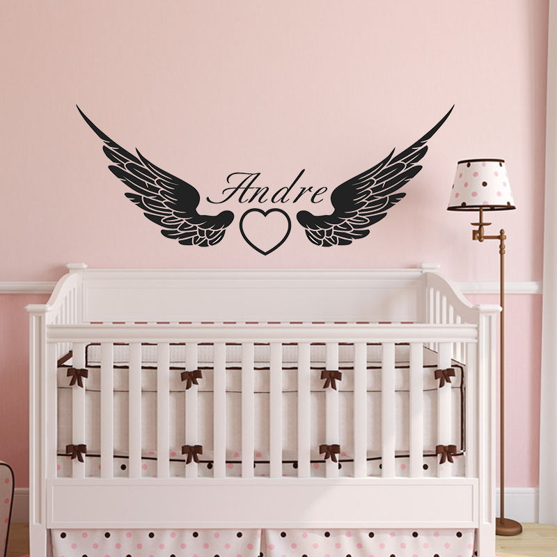 zn g163 custom personalised name angel wing vinyl wall sticker art