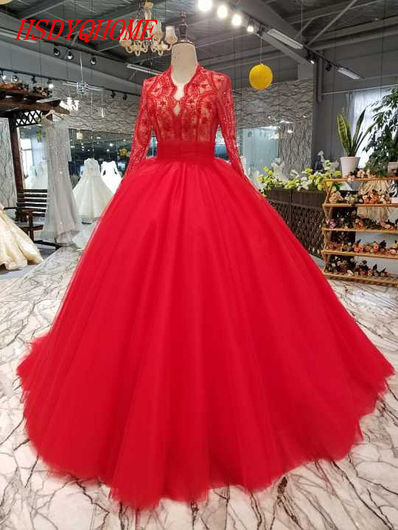 HSDYQHOME Amazing Red Tulle   Evening     dresses   2018 Luxury Lace Prom   Dresses   Beading Vestidos Appliques   Evening   gown