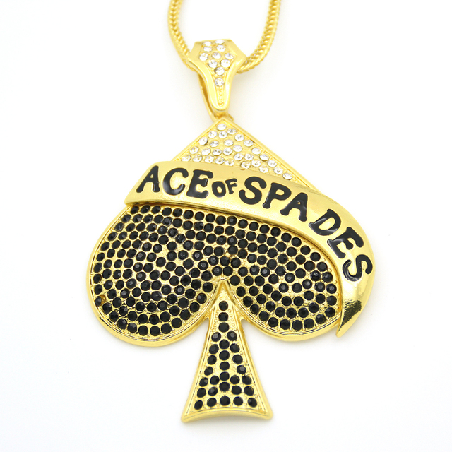 2 colors bling bling iced out large size ace of spades pendant hip 2 colors bling bling iced out large size ace of spades pendant hip hop necklace jewelry aloadofball Image collections