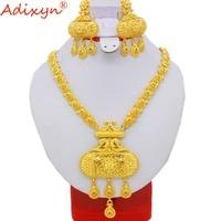 Adixyn индийские ювелирные комплекты dubai африканские бусы Набор украшений для женщин Золотой Цвет Цепочки и ожерелья/серьги Свадебные ювелирн