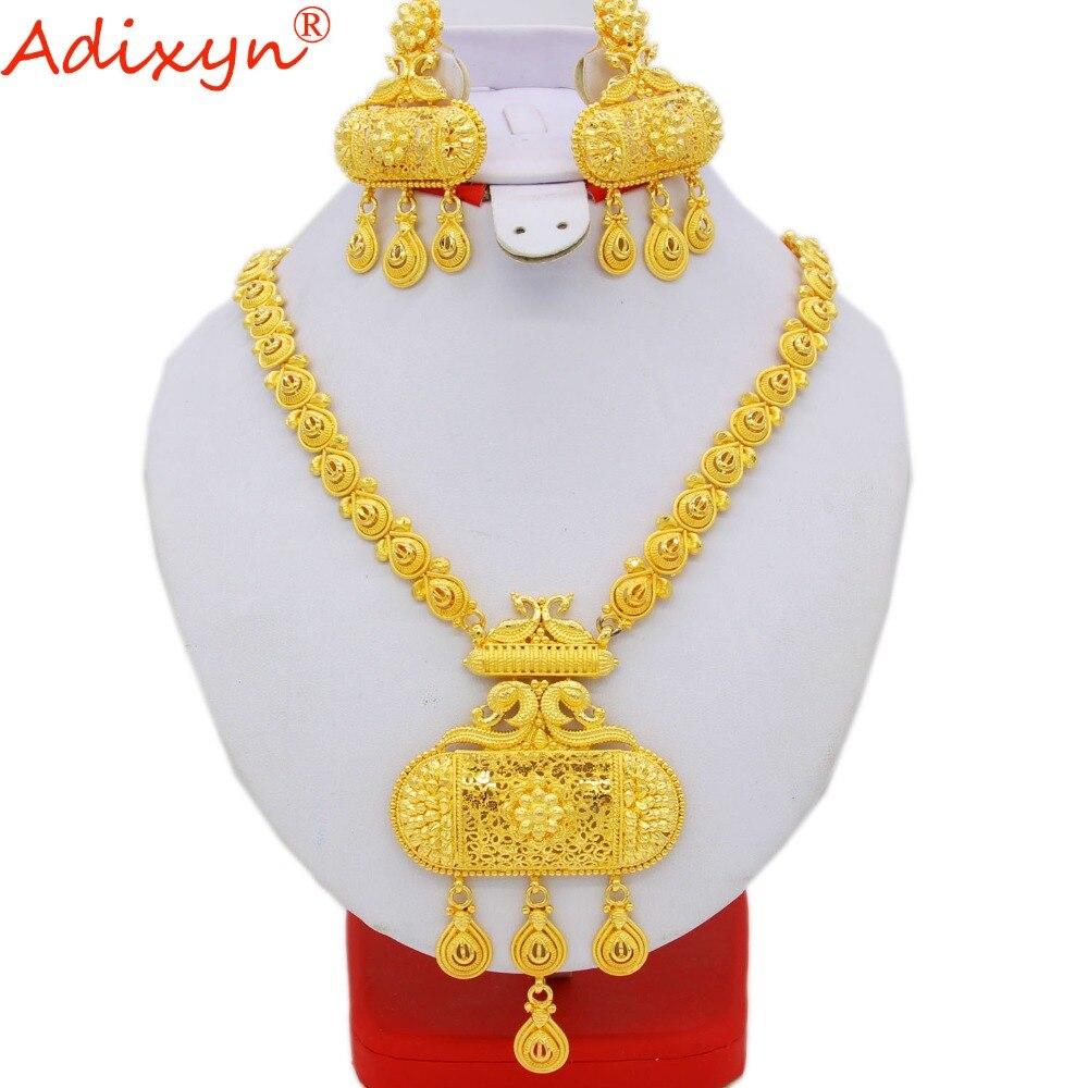 Adixyn indien Dubai ensembles de bijoux perles africaines ensemble de bijoux pour les femmes couleur or collier/boucles d'oreilles de mariage bijoux de mariée N06086
