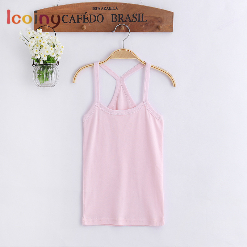 New Kids Underwear Cotton Tanks Girls Top Solid Toddler Tee Sling Slim Clothes Fashion Camisole Children Clothing