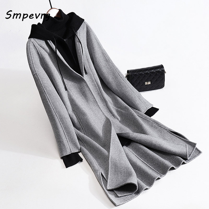 Smpevrg hooded wool coat women coats and jackets double sided fabric long coats women cardigan loose casual overcoat winter new