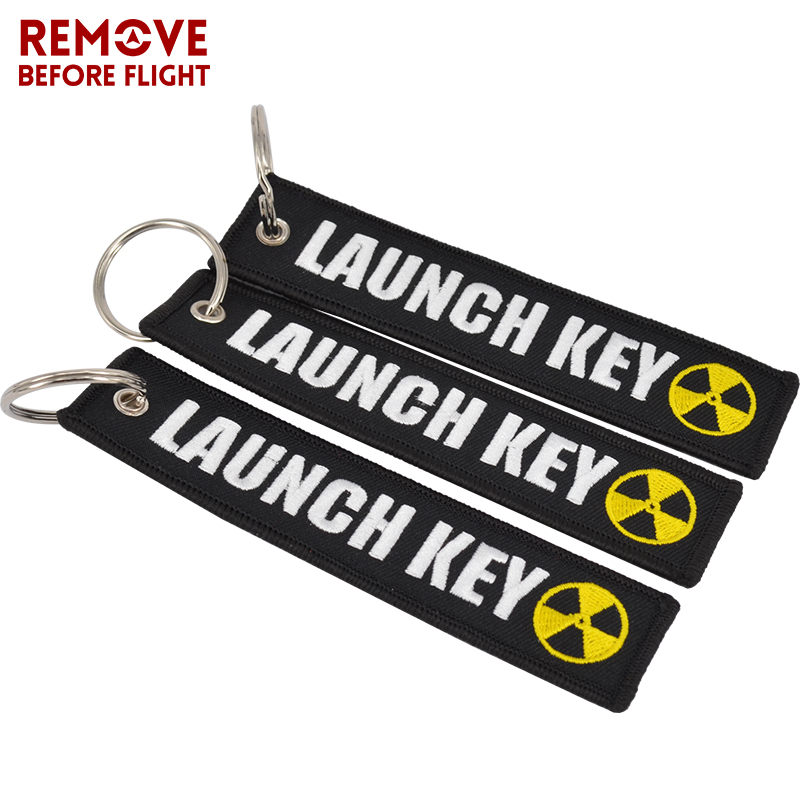 Popular Keychain Nuclear Launch Key Luggage Tag Embroidery Porte Cle - Porte clef moto