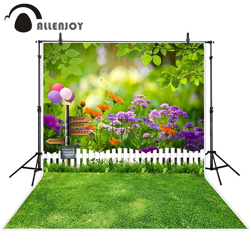 Prix pour Allenjoy photographique printemps fond Ballon woods herbe belle décors nouveau-né enfants photo photocall 10x20